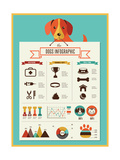 Dogs Infographics - Vector Illustration and Icon Set Reproduction d'art par Marish