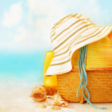 Beach Accessories on the Sand near Sea  Skin Protection  Seashell  Hat  Bag  Day Spa  Tropical Reso
