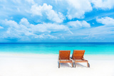 Two Empty Sunbed on the Beach  Beautiful Seascape  Relaxation on Maldives Island  Luxury Summer Vac