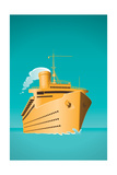 An Old Style Cruise Ship Vector Illustration