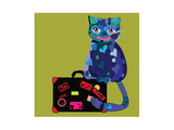 Concept Cat in Cartoon Style Vector Illustration Travel Concept: the Cat and a Suitcase to Travel