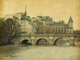 SeinePont Neuf in Central Paris  France Photo in Retro Style Paper Texture