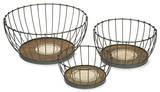 Agnese Wood and Metal Baskets - Set