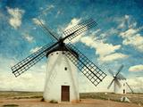 Retro Image of Medieval Windmills Castilla La Mancha  Spain Paper Texture
