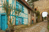 Old Street  in Medieval Village Gerberoy is a Commune in the Oise Department in Northern France F