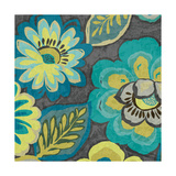Floral Assortment Teal on Dark Grey Crop II