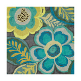Floral Assortment Teal on Dark Grey Crop III