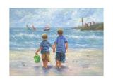 Two Little Beach Boys Walking Reproduction d'art par Vickie Wade