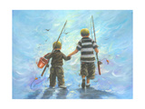 Two Little Boys Going Fishing Reproduction d'art par Vickie Wade