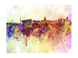 Dublin Skyline in Watercolor Background