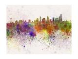 Seattle Skyline in Watercolor Background