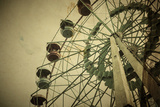 Aged Vintage Photo of Carnival Ferris Wheel with Toned F/X