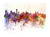 Liverpool Skyline in Watercolor Background Reproduction d'art par Paulrommer