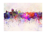Perth Skyline in Watercolor Background