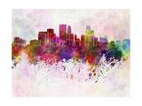 Minneapolis Skyline in Watercolor Background Reproduction d'art par Paulrommer