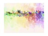 London Skyline in Watercolor Background