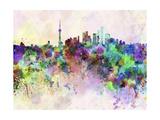 Shanghai Skyline in Watercolor Background
