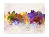 Reno Skyline in Watercolor Background