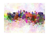Kansas City Skyline in Watercolor Background