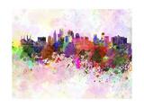 Kansas City Skyline in Watercolor Background Reproduction d'art par Paulrommer