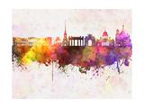 Saint Petersburg Skyline in Watercolor Background Reproduction d'art par Paulrommer