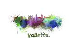 Valletta Skyline in Watercolor Reproduction d'art par Paulrommer