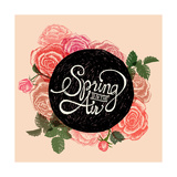 Spring is in the Air - Flowers Quote Reproduction d'art par ONiONAstudio