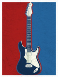 Electric Guitar Red White and Blue Music Poster Print
