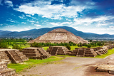 Pyramids of the Sun and Moon on the Avenue of the Dead  Teotihuacan Ancient Historic Cultural City