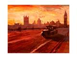 London Taxi Big Ben Sunset with Parliament