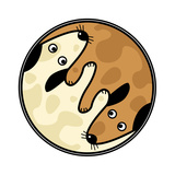 Yin and Yang Design of Two Dogs Sniffing Each Other