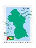 Stamp with Map and Flag of Guyana Reproduction d'art par Perysty