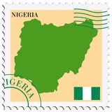 Stamp with Map and Flag of Nigeria