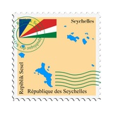 Stamp with Map and Flag of Seychelles
