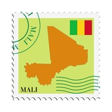 Stamp with Map and Flag of Mali