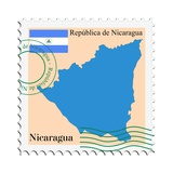 Stamp with Map and Flag of Nicaragua