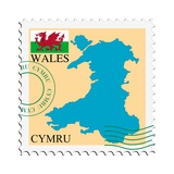 Stamp with Map and Flag of Wales