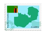 Stamp with Map and Flag of Zambia