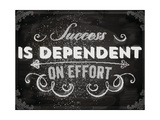 Quote Typographical Background  Vector Design Success is Dependent on Effort Chalkboard Style
