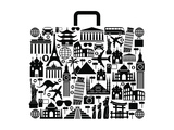 Suitcase Composed from Different Travel Elements Black and White Picture