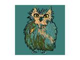 Owl in Flip-Flops  Cartoon Drawing  Cute Illustration for Children  Vector Illustration for T-Shirt
