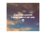 Quote Typographical Poster  Vector Design A Mind is like a Parachute it Doesnt Work If