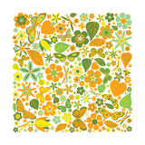 Flowers and Butterflies Colored Pattern