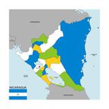 Nicaragua Map Reproduction d'art par Tony4urban