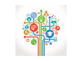 Abstract Tree with Icons Vector Education and Science Concept