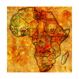 Ghana on Actual Map of Africa Reproduction d'art par Michal812