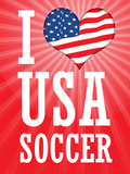I Love USA Soccer (World Cup  Red) Sports Poster Print