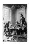 Benjamin Franklin Reading Draft of Declaration of Independence
