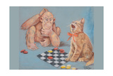 Monkey and Cat Playing Checkers