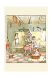 Maid Washes the Babies in the Laundry Room